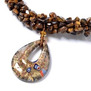 South African Tiger's Eye, Brown Murano Necklace